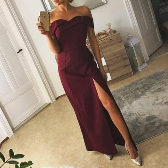 Enchanting Red Wine Off Shoulder Long Prom Dresses Sheath Women Party Dress with Slits