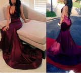 Burgundy Elastic satin Mermaid Prom Dresses Long Girls Formal Graduation Gown