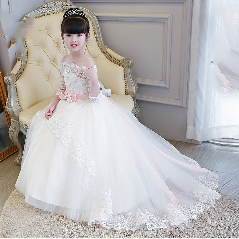 Little Girls Wedding Gowns: LP2695 Off The Shoulder Lace Flower Girl Dress Long