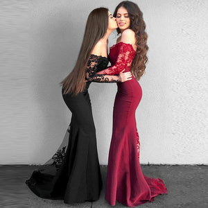 Burgundy /Black Off Shoulder Long Sleeves Mermaid Bridesmaid Dresses Lace Women Formal Evening Gown