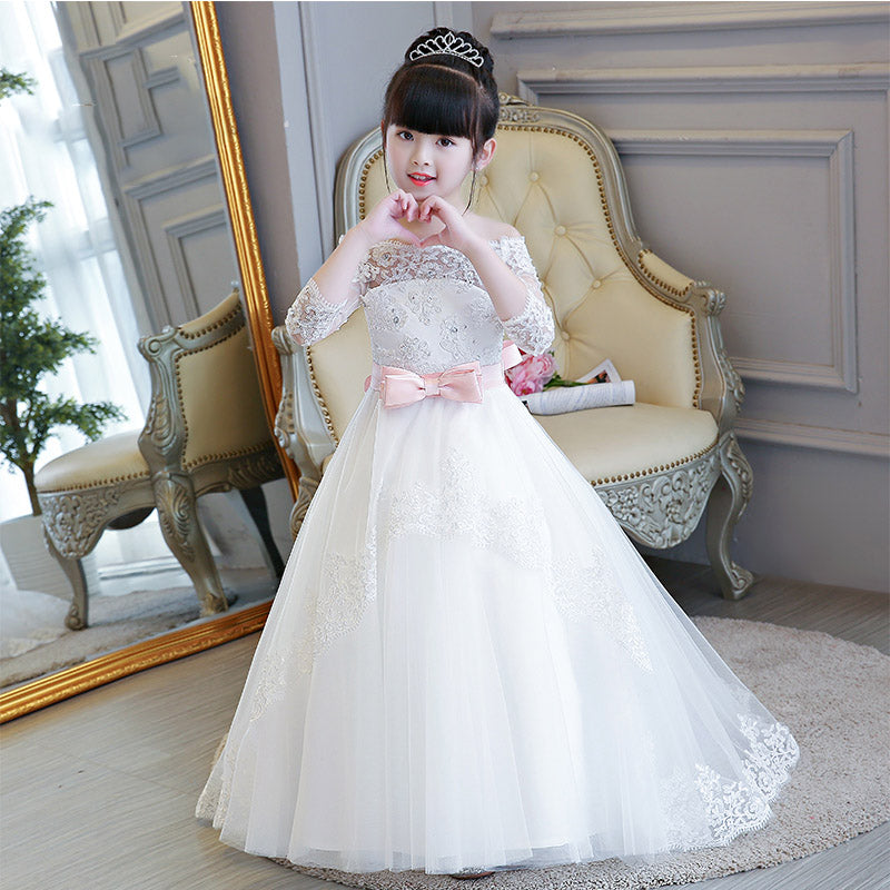 38ec4ce0dab0e ... LP2695 Off the Shoulder Lace Flower Girl Dress Long Sleeves Little Girl  Wedding Gown first communion ...
