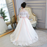 LP2695 Off the Shoulder Lace Flower Girl Dress Long Sleeves Little Girl Wedding Gown first communion dress