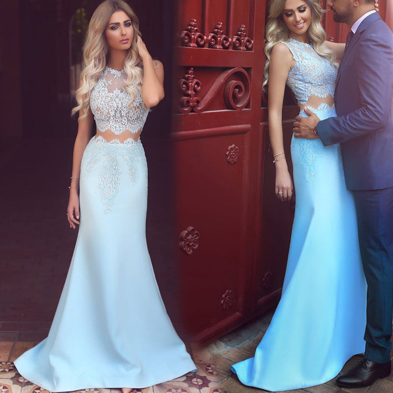 58941f718ed Dreamy Blue Prom dress Crop Top Lace Girls Party Graduation Gown Evening  Formal Wear MO310 ...