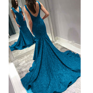 Shinning Teal /Royal Blue 2018 Formal Dresses Women Formal Wear Prom Dresses Long Vestido De Festa
