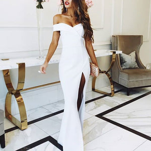 Sexy White Prom Dress Satin Fitted Gown Split Long Party Gown 2018 Evening gown vestidos de graduacion