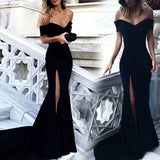 Elegant Black 2020 Prom Dress Off Shoulder Fit Long Party Dress with Slit Leg Vestido De Festa
