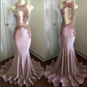 Gorgeous Halter Sexy Mermaid Evening Dresses Long Women Formal Lace Prom Gown vestidos longos para formatura