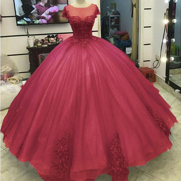 Shinning LacePrincess Burgundy Ball Gown Wedding Dress Short Sleeves Cotillion Formal Prom Dresses