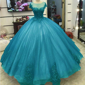 Glitter Lace Appliqued Turquoise Formal Evening Ball Gown Debutante Gown with Short Sleeves