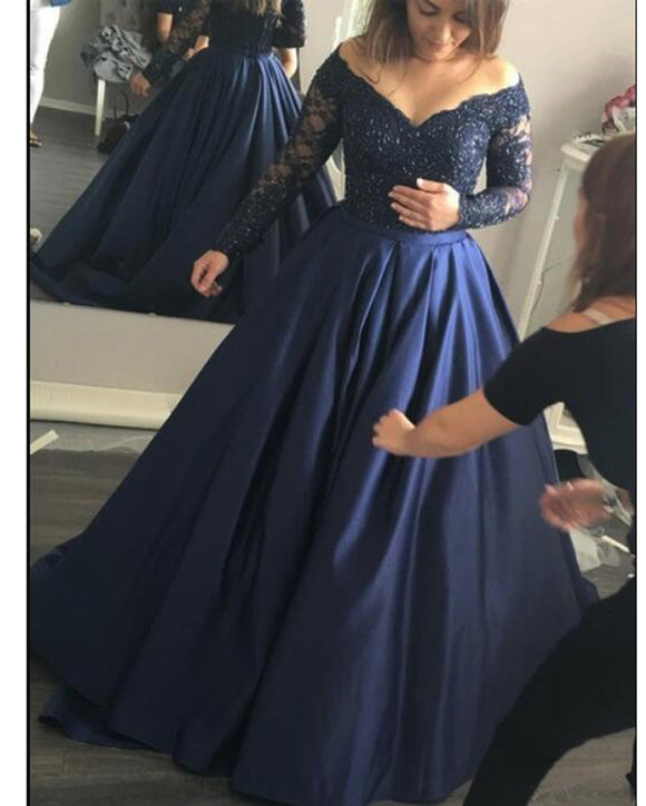 Vintage Off Shoulder V Neck Colorful Navy Blue Satin Ball Gown Lace Beaded Wedding Dress Women Long Sleeves Prom Gown Vestido WD01125