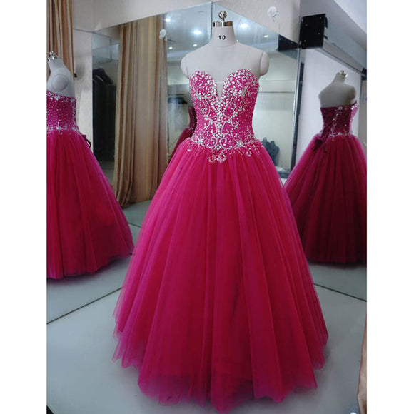 Sparkle Beaded Fuchsia Pink Ball Gown Prom Dresses Debutante Gown Sweet 16 Quinceanera