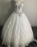 Gothic Style Corset Ball Gown Lace Wedding Dresses Sweetheart Beaded Bridal Gown WD681