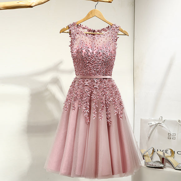 Lovely Scoop Neck Beaded Lace Short Prom Dresses 2018 Homecoming Gown Cocktail Party