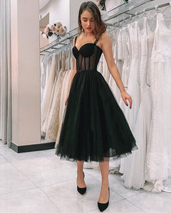 Elegant Girls Formal Gown Dot Black Tulle Tea Lenth Short Prom Homecoming Dresses with straps PL4744