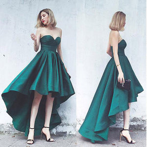 Elegant Green Satin A Line High Low Prom Dress Sweetheart Formal Senior Girls Graduation Dress