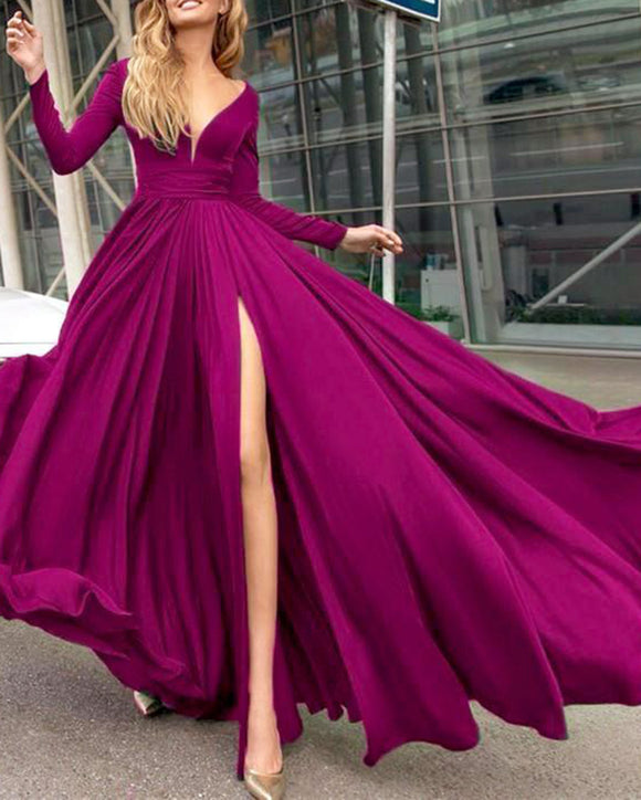 Long Sleeves Fuchsia Pink Evening Dresses Women Party Gown wilt Long Sleeves PL547