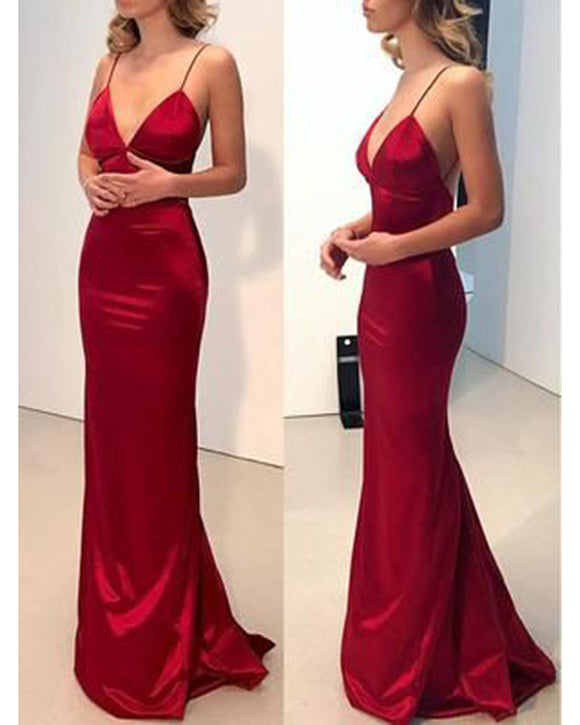 Elegant Spaghetti Straps Mermaid  Party Dresses Long Evening Gown with Straps PL329