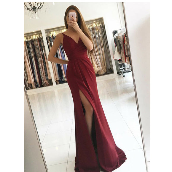 Elegant Dark Red Spaghetti Straps V Neck Long Evening Dress Long Prom Gown with Slit LP