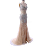 Sparkle Champagne Heavy Beaded Rhinestone Mermaid Prom Dress Girls Pageant Evening Gown