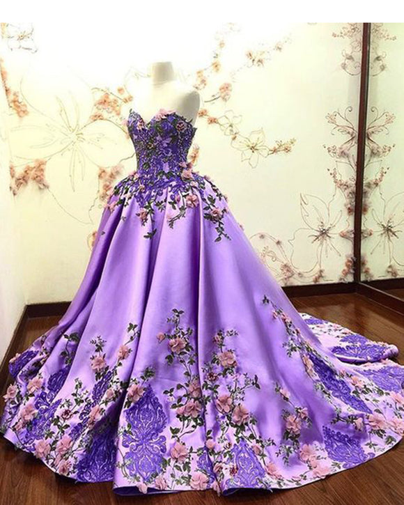 Lilac Floral Print Pattern Ball Gown Prom Party Dress,Sweetheart Wedding Dress,Quinceanra Gown PL07056