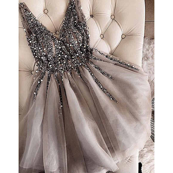 Full Beading Gray V Neck Short Prom Dress Girls Graduation Gown 2018 Homecoming Dress  SP340