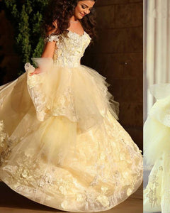 Yellow Ball Gown Princess Debutante Gown Quinceanera Dresses with Lace PL362