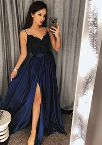 Dark Royal Blue Long Girls Prom Party Dresses Long with Sexy Split PL579