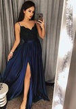 Blue /Burgundy  Long Girls Prom Party Dresses Long with Sexy Split PL579