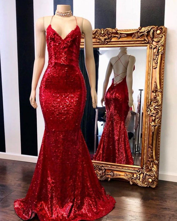 Red Halter Sequins Sparkle Evening Gowns Sexy Mermaid Dresses Long PL801