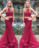 Girls Formal Graduation Burgundy 2 Pieces Lace Prom Dresses Mermaid Style PL1131
