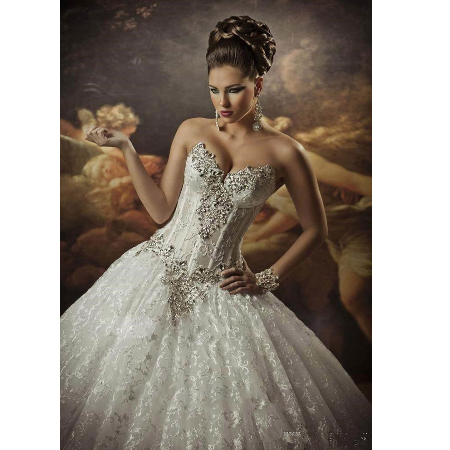 Gothic Style Corset Ball Gown Lace Wedding Dresses Sweetheart Beaded ...