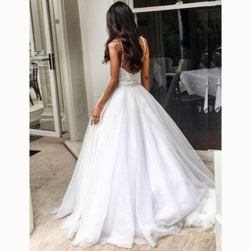 Wedding Ball Gowns With Straps: Sexy Backless Spaghetti Straps Ball Gown Wedding Dresses