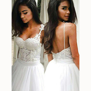 Sexy Backless Spaghetti Straps Ball Gown Wedding dresses White Bridal Gown 2018