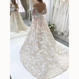 Champagne /Ivory Lace Vintage Wedding Gown Long Sleeve Bridal Dresses 2018 abiti da sposa