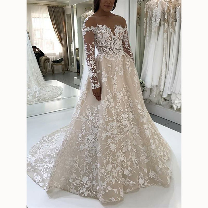 Champagne Ivory Lace Vintage Wedding Gown Long Sleeve Bridal Dresses Siaoryne