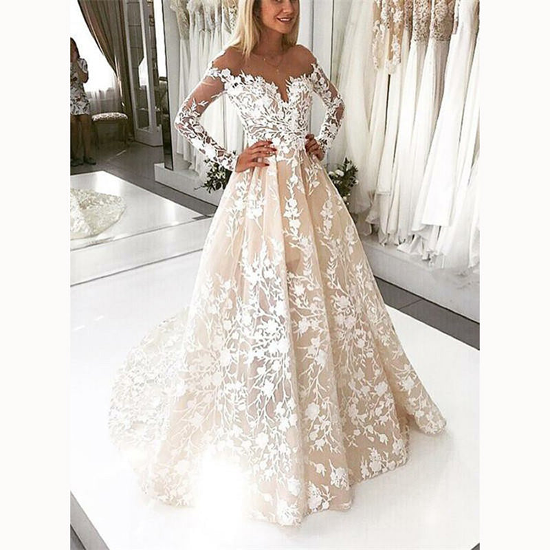 Lace Vintage Wedding Dress.Champagne Ivory Lace Vintage Wedding Gown Long Sleeve Bridal Dresses 2018 Abiti Da Sposa