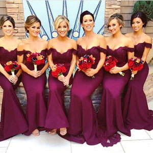 Burgundy Off the Shoulder Women Bridesmaid  Dress Long Off the Shoulder Lace Mermaid Party Gown