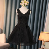 Classic Black Short Prom Dress Lace Homecoming Dresses 2018 Short Semi Formal Gowns SP4458