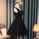 Classic Black Short Prom Dress Lace Homecoming Dresses 2020 Short Semi Formal Gowns SP4458