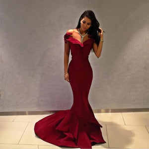 off the shoulder burgundy evening dresses formal party gown