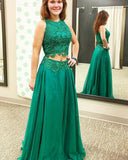 Emeral Green Crop Top Lace Long  2 Pieces Prom Dress,Long Lace Evening Outfits PL08012