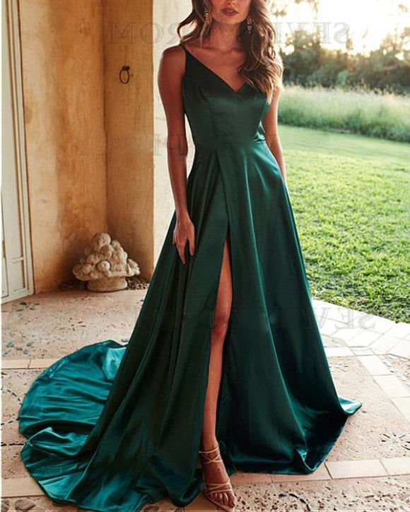 Fashion Green Spaghetti Straps Girls Long Prom Party Dresses with High Slit PL3010