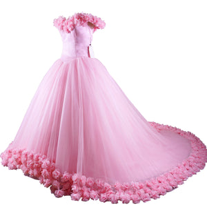 Siaoryne Wd0916 Pink Flowers Wedding Dress,Ball Gowns Bridal Dress Princess,Prom Dress,Quinceanera Dresses