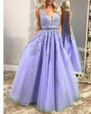Plunge V Neck Long Girls Pageant Dress Prom Graduation Gown with Lace 2019 PL5440