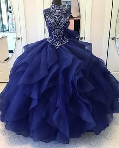 Fantastic High Neck Navy Blue Bodice Corset Ball Gown Sweet 16 Quinceanera Gown Poofy Organza Prom Dress 2020 Debutante LP1151