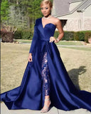 2020 Elegant One Sleeve Evening Dress Royal/Navy Blue Split Prom Party Gowns Jumpsuit Celebrity Dresses