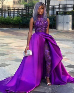 Jumpsuits Prom Dresses With Detachable Train High Neck Lace Appliqued Bead Evening Gowns Luxury African Party Women Pant Suits