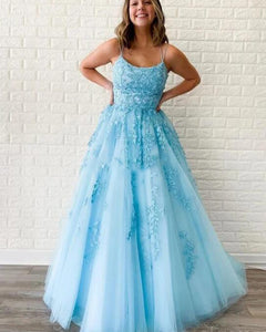 Breathtaking  Pale Yellow/Light Blue lace Tulle Girls Formal Gown Prom Dress with lace up tie back