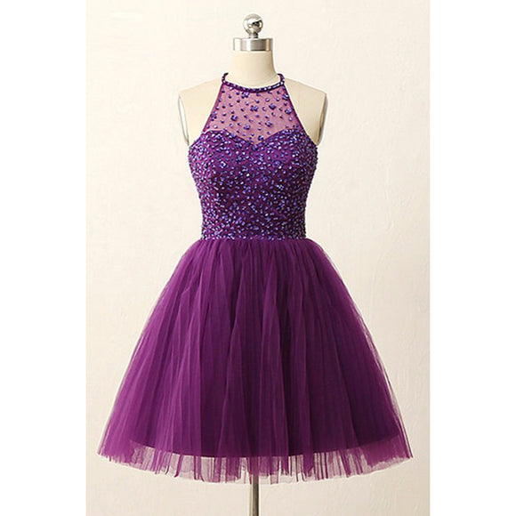 Stunning Dark Purple Halter Graduation Prom Party Short Homecoming Dresses