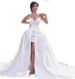 Siaoryne WD027 Sweetheart Beading Lace Corset Front Open High Low Sexy Wedding Dress Gown online